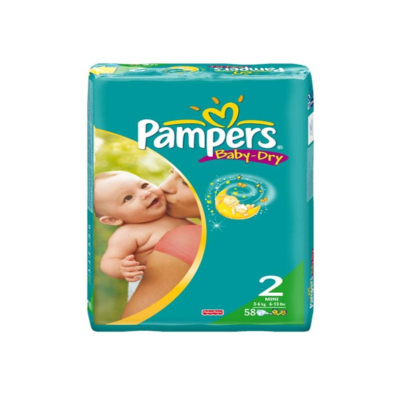 58 Couches Pampers Baby Dry Taille 2 à Petit Prix Sur Couches Zone