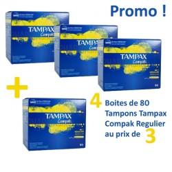 Compak - Maxi Pack 320 Tampons Tampax - 4 Packs de 80 taille regular avec applicateur sur Couches Zone