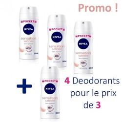 Sensation Satinée - Pack économique 4 Deodorants Nivea - 4 au prix de 3 taille Pocket sur Couches Zone