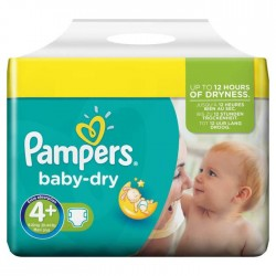 Baby Dry - Pack 56 Couches Pampers taille 4+ sur Couches Zone