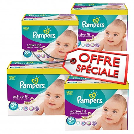 Active Fit - Giga Pack de 560 Couches de Pampers taille 3+ sur Couches Zone