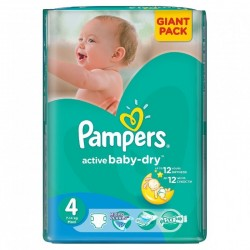 Active Baby Dry - Pack 58 Couches Pampers taille 4