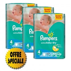 Active Baby Dry - Pack économique 522 Couches Pampers taille 4 sur Couches Zone
