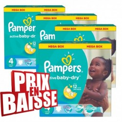 Active Baby Dry - Gros pack de 290 Couches Pampers taille 4