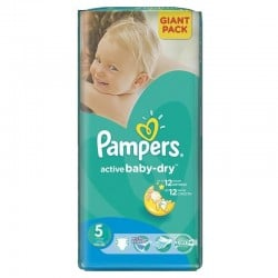Active Baby Dry - Pack 42 Couches Pampers taille 5 sur Couches Zone