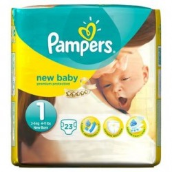 Pack 23 Couches Pampers New Baby taille 1 sur Couches Zone