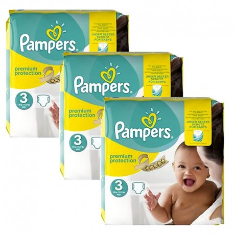 Maxi Giga Pack 240 Couches Pampers Premium Protection - New Baby taille 3 sur Couches Zone