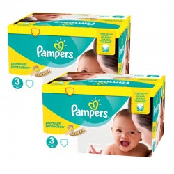 Maxi Giga Pack 400 Couches Pampers Premium Protection - New Baby taille 3 sur Couches Zone