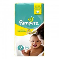 Pack 50 Couches Pampers Premium Protection - New Baby taille 3