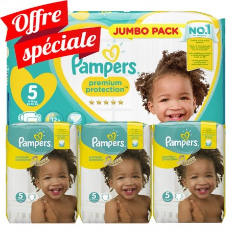 Maxi Giga Pack 340 Couches Pampers Premium Protection - New Baby taille 5 sur Couches Zone