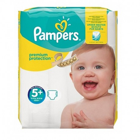 Pack 32 Couches Pampers Premium Protection - New Baby taille 5+ sur Couches Zone