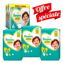Mega Pack 217 Couches Pampers Premium Protection - New Baby taille 6 sur Couches Zone