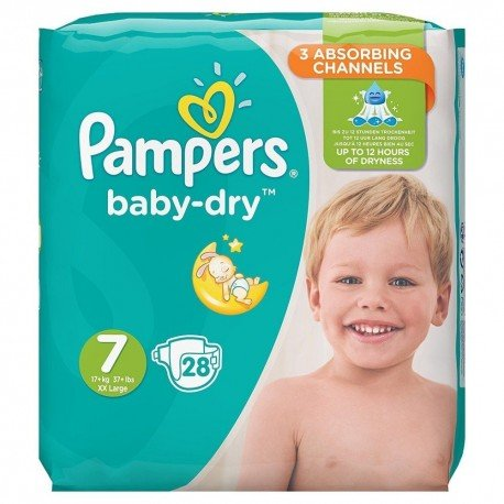 Pack 28 Couches Pampers Baby Dry taille 7 sur Couches Zone