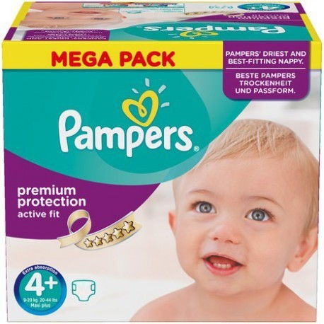 Pack 62 Couches Pampers Active Fit taille 4+ sur Couches Zone
