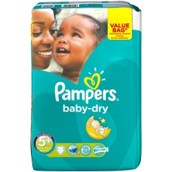 Pack 28 Couches Pampers Baby Dry taille 5+