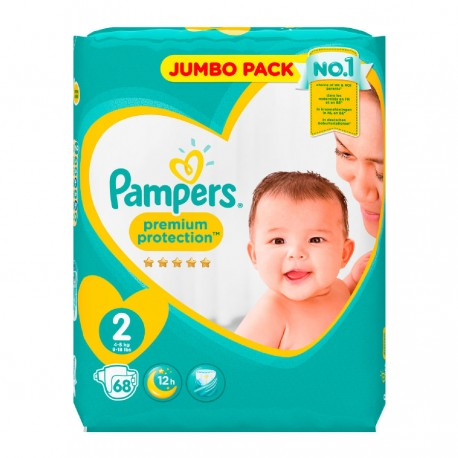Pack 68 Couches Pampers New Baby - Premium Protection taille 2 sur Couches Zone