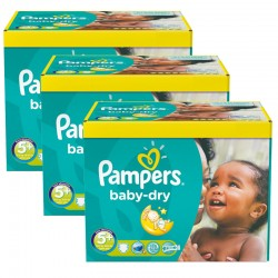 Maxi Giga Pack 308 Couches Pampers Baby Dry taille 5+