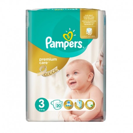 Pack 20 Couches Pampers Premium Care - Prima taille 3 sur Couches Zone