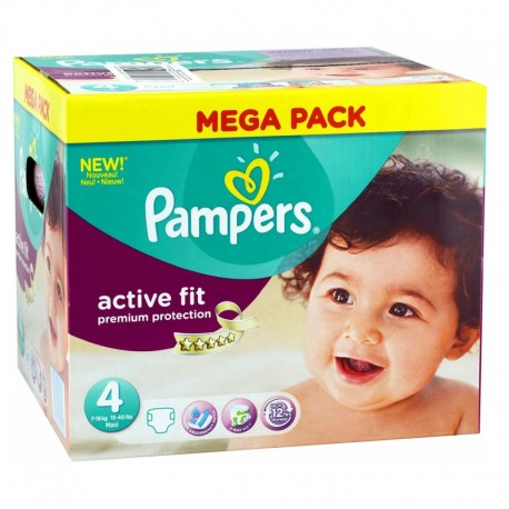 Pack 168 Couches Pampers Active Fit - Premium Protection taille 4 sur Couches Zone