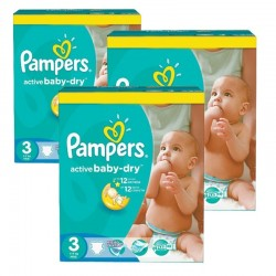 Mega Pack 216 Couches Pampers Active Baby Dry taille 3