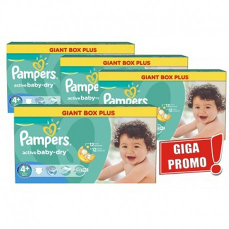 Maxi Pack 576 Couches Pampers Active Baby Dry taille 4+ sur Couches Zone