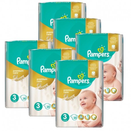 pack Jumeaux 480 Couches Pampers Premium Care - Prima taille 3 sur Couches Zone