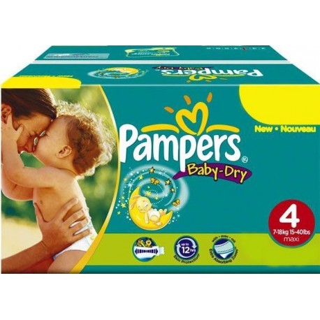 Giga pack 205 Couches Pampers Baby Dry taille 4+ sur Couches Zone