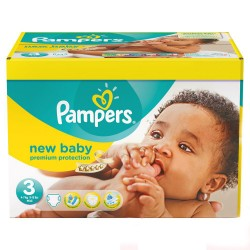 Pack 60 Couches Pampers New Baby Premium Protection taille 3 sur Couches Zone