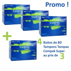 Compak - Pack économique de 320 Tampons Tampax - 4 au prix de 3 taille super avec applicateureur sur Couches Zone